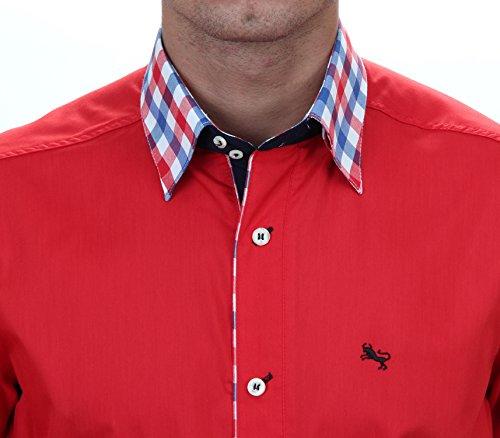 Slim Fit Freizeithemd in Rot, für Herren BESTE QUALITÄT, HK Mandel Langarm Designerhemd, 2087 Rot