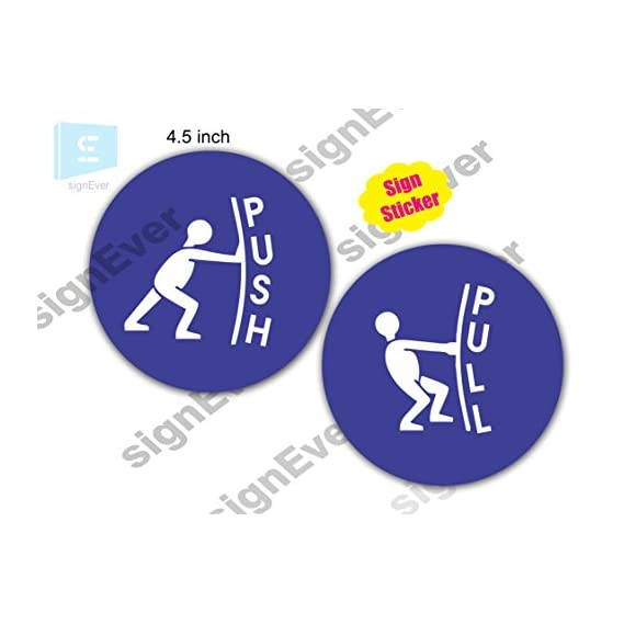 signEver Symbol of Push Pull Stickers for Glass Office Doors Die Cut Blue Decal 11.5cm (1set)