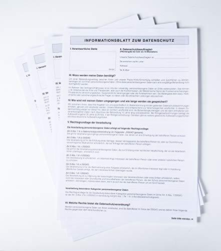 Datenschutzerklärung für Praxen inkl. Einverständniserklärung zur Datenweitergabe an Dritte, Preis für 100 Formulare