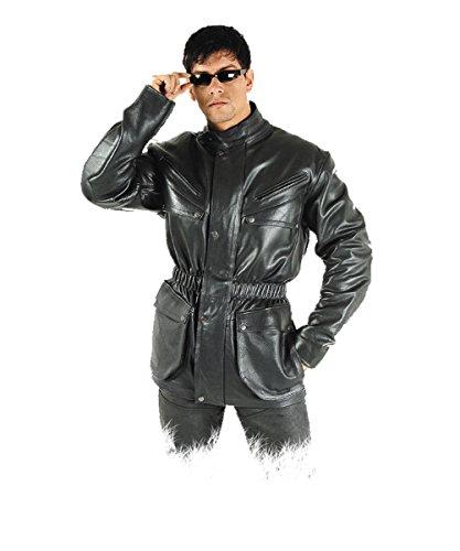 Fuente Leather Wears Echt Leder-Outdoor Lederjacke Herren - Schwarz de6fc826d85