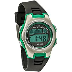 Sportech Unisex | Black & Green Racer Digital Sport Watch | SP10207