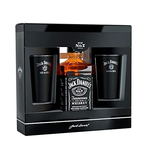 Jack Daniel's Geschenkset + 2 Jack & Cola Metal Becher Set (1 x 0.7 l) (Distillery Jack Daniels)