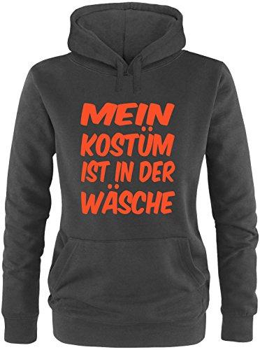 Luckja Mein Kostüm ist in der Wäsche Damen Hoodie Schwarz/Orange