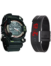 shoppy clue Royal Shock and Rubber LED Dual Time Watch with Alarm and Night Mode Light for Men and Women