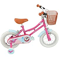 "ElswickMisty Kids' Road Bike Pink/Blue, 7.8"" inch steel frame, 1-speed matching front and rear mudguards wicker effect handlebar basket"