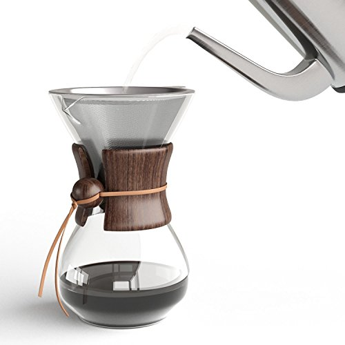 Pour Over Kaffeemaschine mit Borosilikat Glas Karaffefilter und wiederverwendbarer Edelstahl Filter - Manuelle 1L Filter Kaffeebrauer mit echten Holz Hülle - Espresso Maker - Kaffeefilter Permanent (Manuelle Edelstahl Kaffeemaschine)