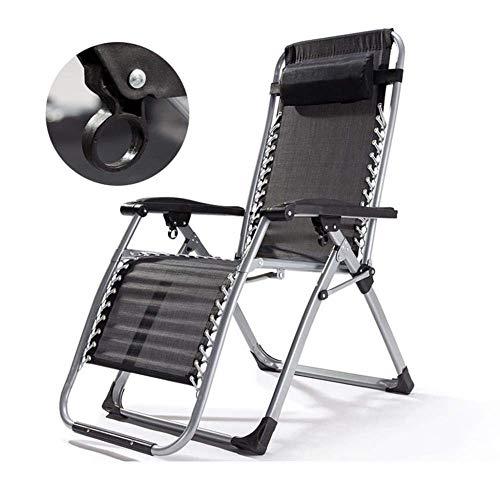 WJJJ Stuhl Loungesessel mit Schwerelosigkeitssessel für Erwachsene, mit Kissen, für Camping im Freien, Terrasse, Strand, Klappstuhl Travle (Farbe: schwarz)