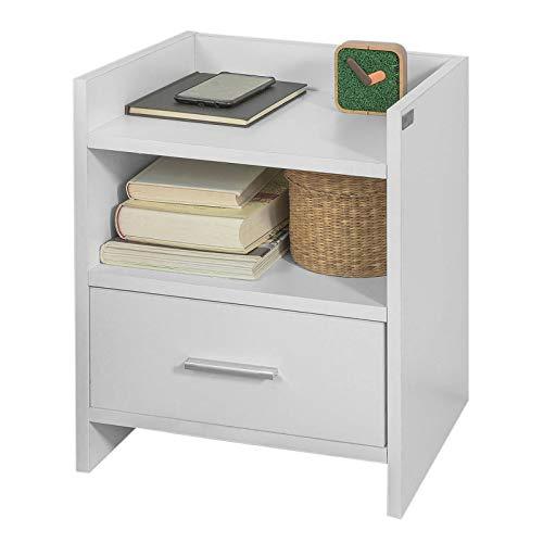 SoBuy® FBT66-W Nachttisch Nachtschrank Beistelltisch mit 1 Schublade und 2 Ablagen, weiß, BHT ca.: 38x45x35cm (2 Schublade Aktenschrank Braun)