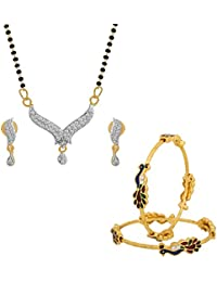 The Luxor Daily Wear Australian Diamond Studded Mangalsutra & Bangle Set Combo For Women