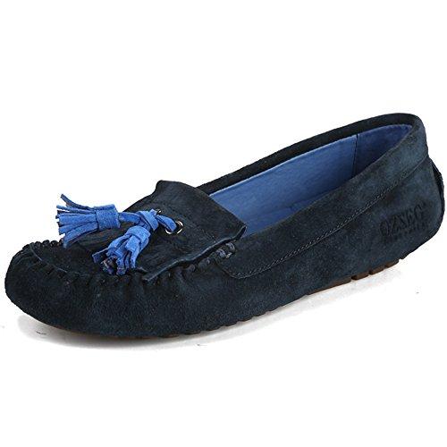 OZZEG Ladies féminin plat plein cuir mocassin Tassel Loafers chaussures de bateau de confort Bleu Marine