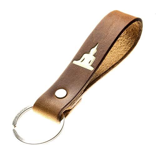 Schlüsselanhänger mit Botschaft aus pflanzlich gegerbtem Leder Handmade in Germany mit Gravur/Prägung (Buddha)