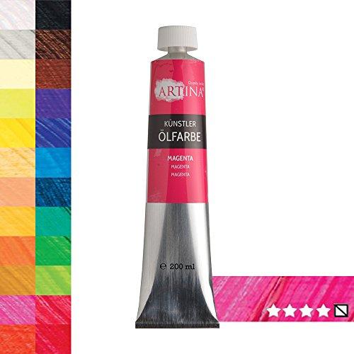 Artina Studio Feine Ölfarbe 200ml Magenta Primaire-Rot Hochwertige Künstler Ölmalfarbe Made in Germany Studio-Qualität