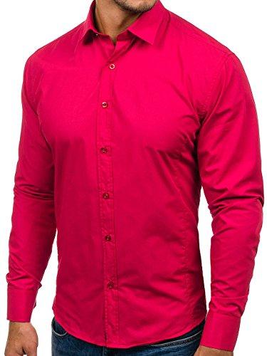 Bolf Herren Hemd Elegant Langarm Farbwahl Knopfleiste Casual Style 2B2 MIX Koralle_1703