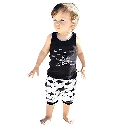 Lookhy Ärmelloses Kinder Cartoon Shark Letter Print Tanktop + Shorts Set Baby-Jungen Bekleidungsset Set Jungle Uni Puffprint (Jungen 1-jahr-alten Beste Halloween-kostüm)