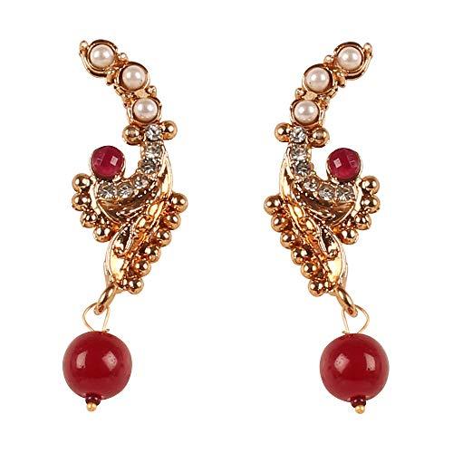 Touchstone Bollywood Maharani Manikarnika Kangana Ranaut Ruhm aufwendig gestaltete Kunst Rubin Perlen Rhein Designer Schmuck Ohrringe für Damen Rot 2