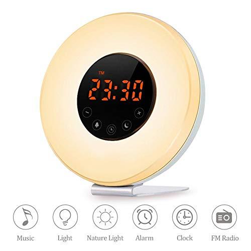 Wake Up Licht Lichtwecker Tageslichtwecker Wecker 6 Natural Sounds 7 Farben 10 Dimmstufen Fm Radio Digitaluhr Mit Intelligente Sonnenaufgang Simulator Touchscreen Nachtlicht,White