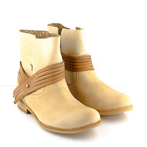 Felmini - Damen Schuhe - Verlieben Alfa A005 - Cowboy & Biker Stiefeletten - Echtes Leder - Beige Beige