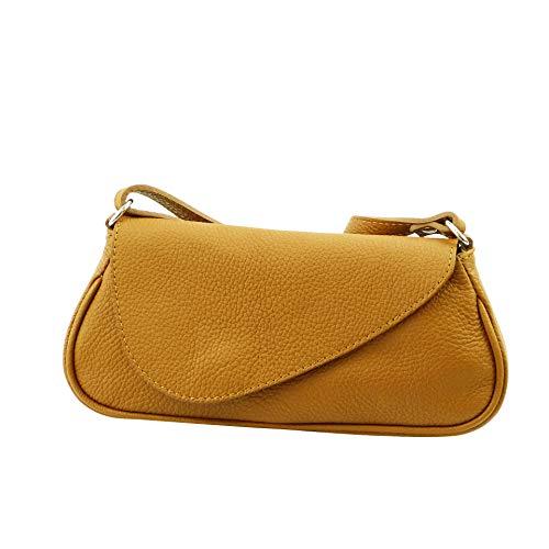 SH Leder ® Echtleder Umhängetasche kleine Tasche Crossbody Bag Messenger Handtasche mit Reißverschluss - Abendtasche City Clutch Party - 25,50x11,50cm Naomi G1886 (Camel) -
