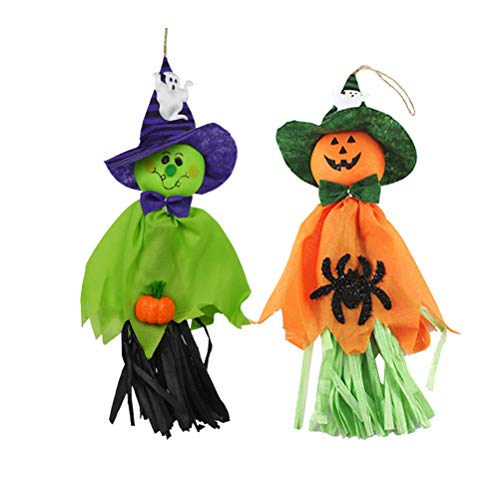 BESPORTBLE 2 STÜCKE Halloween Ghost Hexen Dekoration Hängen Anhänger Requisiten Ornamente Hause Tür Fenster Indoor Outdoor, Orange + Grün