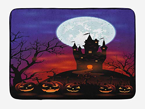 Gothic Haunted House Castle Hill Valley Night Sky October Festival Theme Print, Plush Bathroom Decor Mat with Non Slip Backing, 23.6 W X 15.7 W Inches, Multicolor ()
