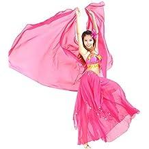 moresave Mujer Gasa velo bufanda pañuelo exóticas Danza del Vientre cabeza frente bandas, primavera/verano todo el año, mujer, color Rosa, tamaño 250x120 cm