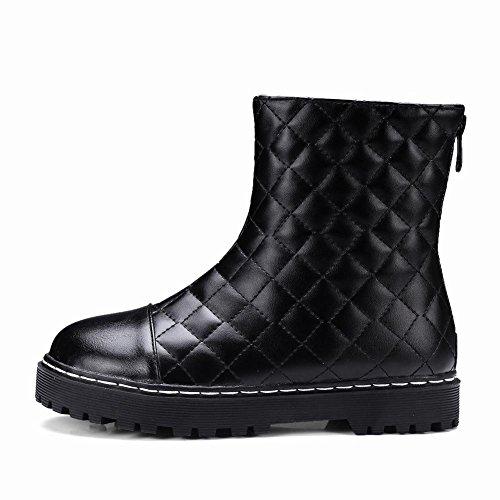 UH Femmes Chaussures Bottes Talons Plates de 3 CM Blanches et Noires Conforts de Cuissarde avec Fermeture Eclaire à la Mode Noir