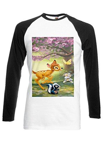 Bambi Rabbit Cute Forest Black/White Men Women Unisex Long Sleeve Baseball T Shirt-XL -