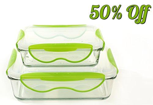 Frischhaltedose Glas 2er Set Lebensmittelbehälter Luftdicht Spülmaschinenfest Mikrowellenfest 1,45L+0,58L