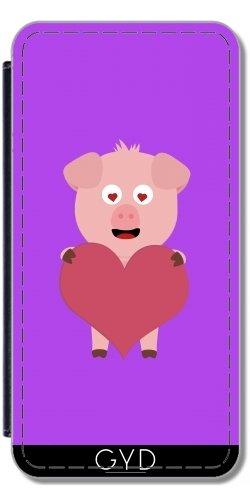 Leder Flip Case Tasche Hülle für Apple iPhone 6 Plus / 6S Plus - Schwein Mit Großem Herzen Für by ilovecotton Lederoptik