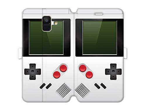 etuo Samsung Galaxy A6 (2018) - Hülle Wallet Book Fantastic - Weißes Game Boy - Handyhülle Schutzhülle Etui Case Cover Tasche für Handy