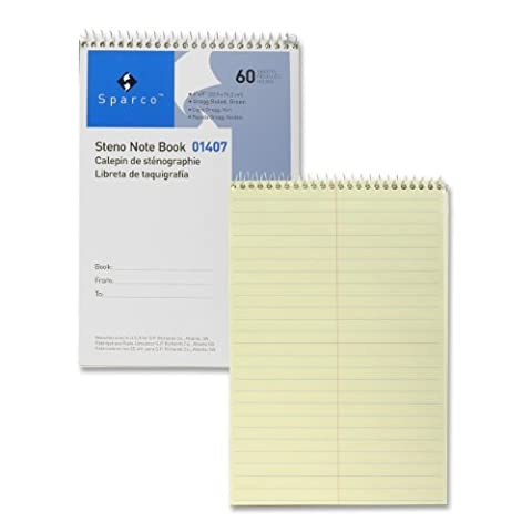 Steno Notebook, Gregg Ruled, 60 Sheets, 6 x 9 Inches, Green by Sparco