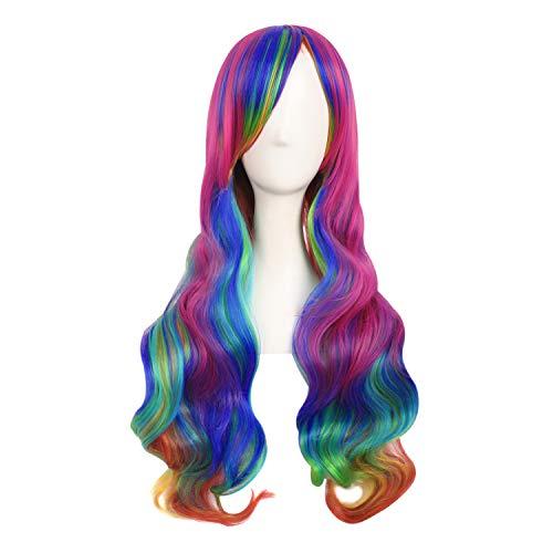 MapofBeauty 28 Zoll/70cm Damen Glatt Pony Mehrfarbig Cosplay Länge Locken Glamor Perücke (Regenbogen Farbe)