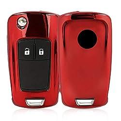 kwmobile Autoschlüssel Hülle für Opel Vauxhall - TPU Schutzhülle Schlüsselhülle Cover für Opel Vauxhall 2-3-Tasten Klappschlüssel Autoschlüssel Hochglanz Rot