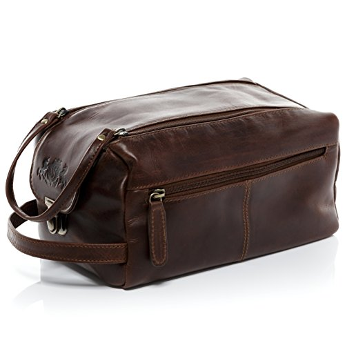 SID & VAIN Kulturtasche Leder Bristol XL groß Kulturbeutel Herren Necessaire echte Lederbeutel Damen Herren braun