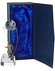 """Trophée En Verre Football, Trophée """"Football Star"""", transparent, Collection """"Pokal"""" , H= 21 cm, livré dans un écrin cadeau, verre, style moderne (FAN UNIKATE powered by CRISTALICA)"""