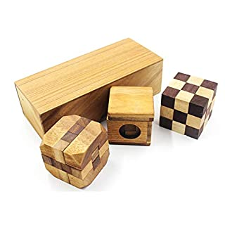 AIBAB Children's Puzzle Decompression Toy Pupils Kong Mingsuo Luban Unlock Wooden Disassembly Suit Rubik's Cube Over 3 Years Old Combination