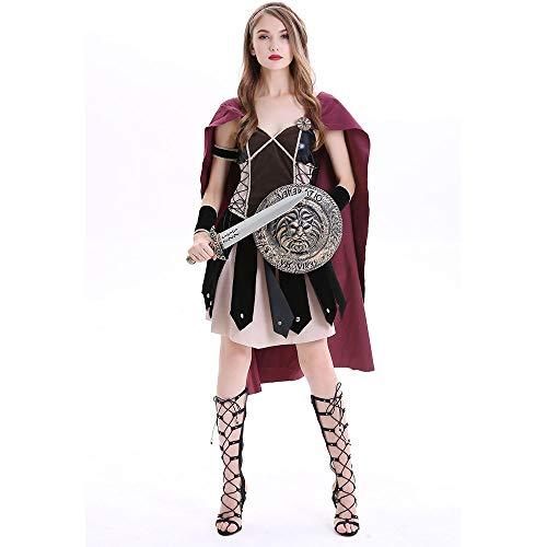 Sttsale Halloween Kostüm Mädchen, griechische mythische Kriegerin Kostüm, God of War Athena Kostüm, Halloween Rollenspiel, Halloween Party Kostüm,XL