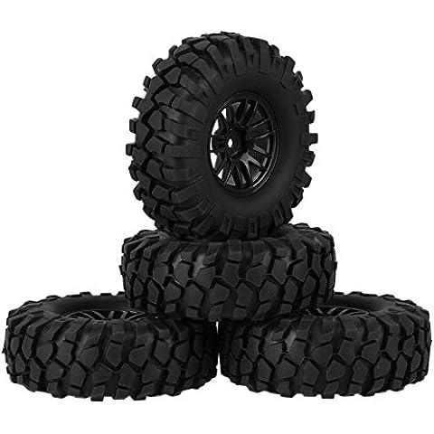 Youzone Los neumáticos de 108 mm OD Negro Simulación de goma de neumáticos movible de la esponja y 52 mm Diámetro de plástico del borde de la rueda con 14 radios para RC 01:10 Rock Crawler (paquete de 4)