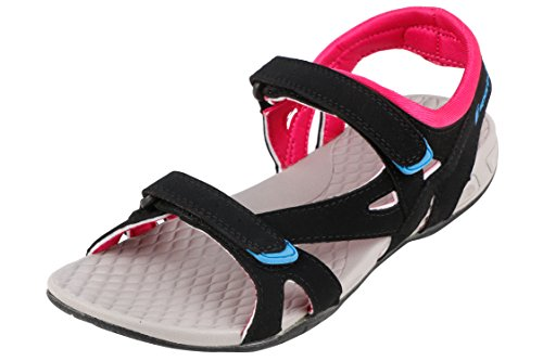 F-Sports Women's Black Pink Synthetic Floaters -7Uk  available at amazon for Rs.569