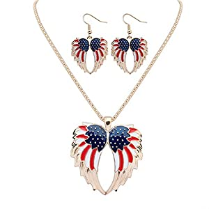 Hanessa silbernes Schmuckset Ohr-Ringe und Hals-Kette Damen-Schmuck Flügel Amerika Silber Zinklegierung USA-Geschenk für die Ehe-Frau/Freundin/Frauen