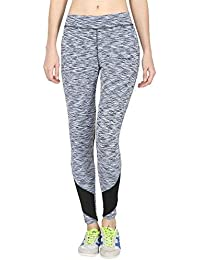 ONESPORT Light Blue & Black Printed Slim Fit Ankle Length Sports Tights for Women(ONSP38SD)