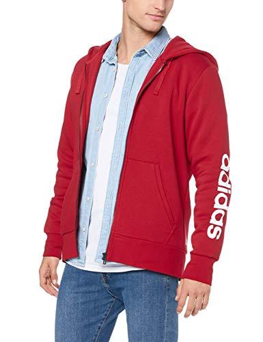 adidas Herren Essentials Linear Full Zip Hooded Kapuzen-Jacke, Scarlet, S Scarlet Zip