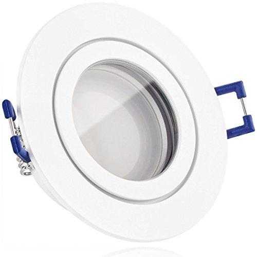 IP44 LED Einbaustrahler Set Weiß matt mit LED GU10 Markenstrahler von LEDANDO – 5W – warmweiss – 120° Abstrahlwinkel – Feuchtraum / Badezimmer – 35W Ersatz – A+ – LED Spot 5 Watt – Einbauleuchte rund
