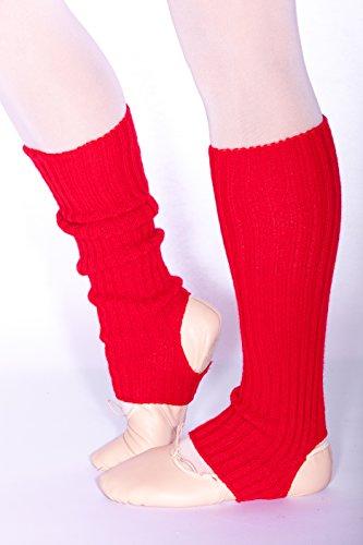 Stulpen gerippt für Ballett und Tanz (45cm lang), mit Fersenloch (Rot) -