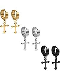 Oidea Men's Cross Stud Earrings Set, Creole Cross Pendant Ear Piercing Earrings Black Gold Silver