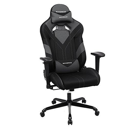 SONGMICS Bürostuhl Gaming Stuhl Chefsessel ergonomisch mit Verstellbare Armlehnen, Kopfkissen Lendenkissen 66 x 72 x 124-132 cm Schwarz-Grau RCG13BK