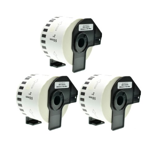 3x Endlos-Etikett für Brother DK22223 50mm x 30,48m P-Touch QL-1050 1060N 500 550 560 570 580 700 500 A BS BW 560 VP YX 580N 650TD 710W - P-touch 500 Ql Brother