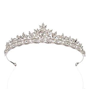SWEETV Rhishtone Hochzeit Tiara für Braut – Prinzessin Tiara Stirnband Brautkrone Brautschmuck Haarschmuck für Frauen und Mädchen Silber