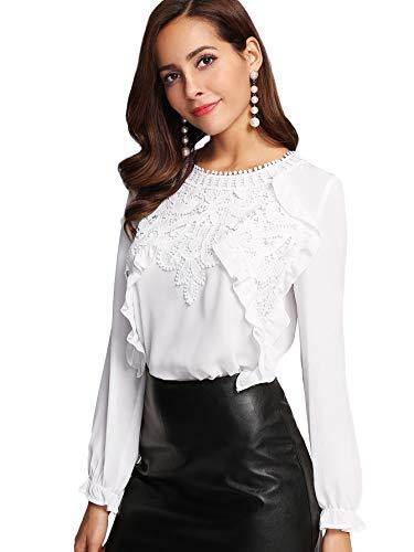 SOLY HUX Damen Bluse Mit Spitze Rüschen Langarmshirt Falten Tunika Bluse Einfarbig Frühling Oberteile Weiß S
