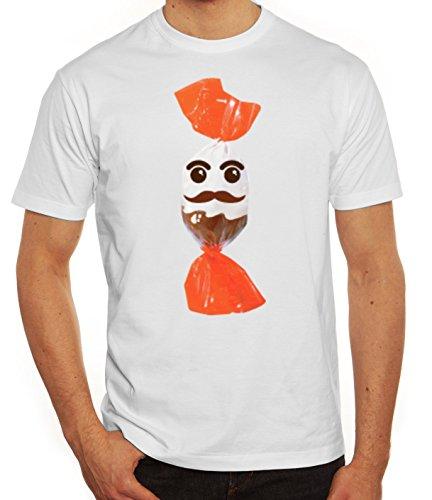 Fasching Verkleidung T-Shirt Gruppen & Paar Kostüm Schokoladenmännchen Kostüm, Größe: XXL,Weiß (Männer, Gruppe Halloween-kostüme)